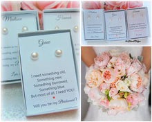 Pearl stud bridesmaid earrings with bridesmaid gift cards