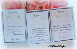3 sets of pearl earrings for bridesmaids gifts