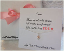 Flower Girl Pearl necklace with personalized card