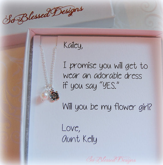 Flower Girl Necklace Gift displayed on personalized jewelry card