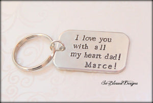 Pewter I love you with all my heart keychain
