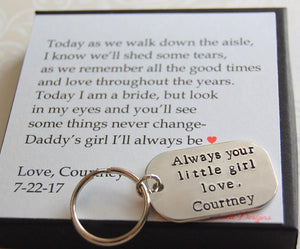 Always your little girl keychain for father of bride