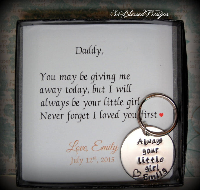 Always your little girl keychain for brides father