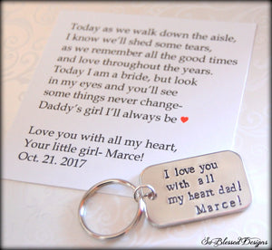 Custom pewter keychain for father of the bride