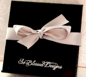 Black So Blessed Designs gift box with grey ribbon bow