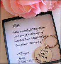 Personalized keychain for groom from bride on wedding day