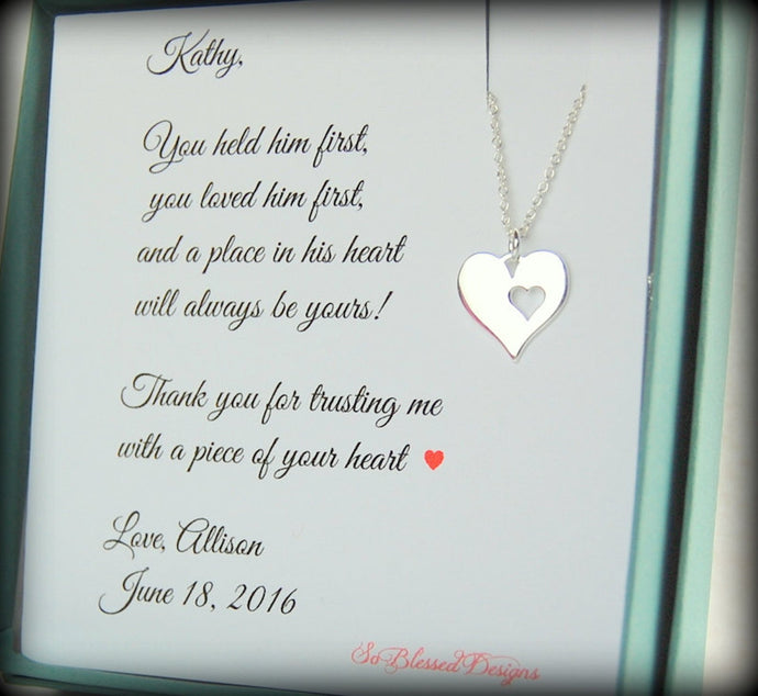 Mother of the Groom card with silver heart necklace