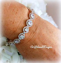Mother of the Bride wearing CZ solitaire bracelet