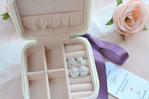 Bridesmaid Gift Set, Travel Jewelry Case WITH Earrings