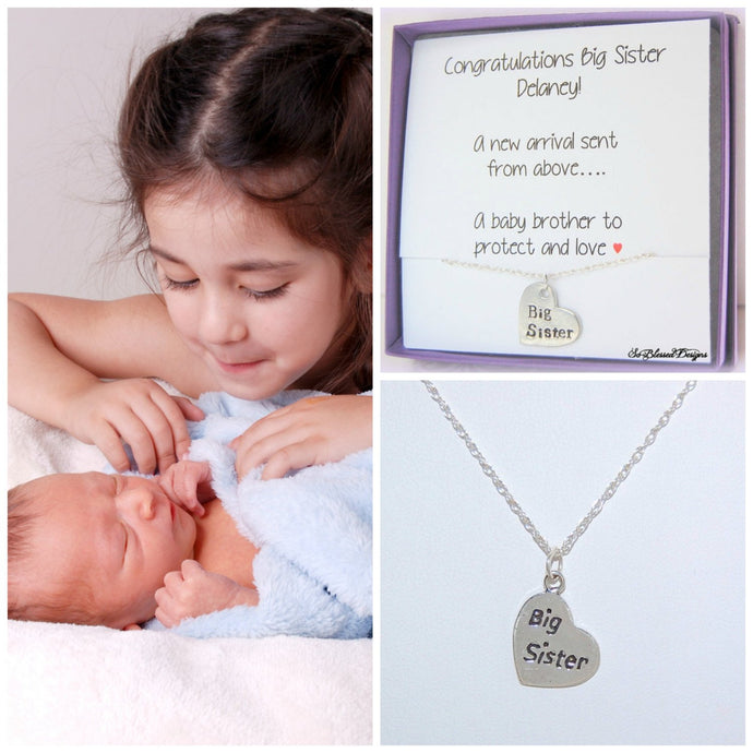 BIG SISTER Necklace, NEW big sister, Girls Necklace, Sister Gift, Sterling Silver, Hand Stamped Necklace, Children's Jewelry