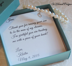 Mother of the Groom Bracelet, Mother of Bride Gift, Future Mother in law gift, Wedding gift for mother in law
