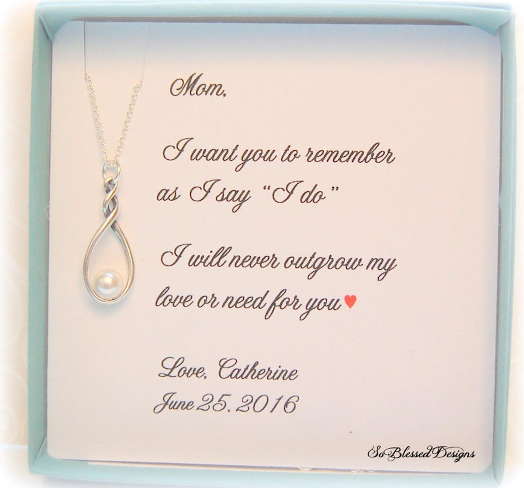 Mother of the bride necklace with I want you to remember poem card
