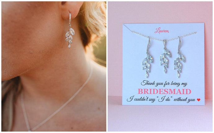 bridesmaid wearing crystal leaf earrings