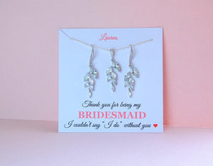 crystal earrings displayed on a bridesmaid jewelry card