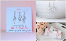 Crystal earrings and necklace set on thank you for being my bridesmaid card