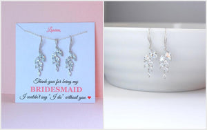 dangle leaf earrings and necklace set for bridesmaids