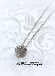CZ round circle solitaire necklace