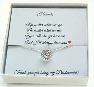 Bridesmaid necklace CZ solitaire pendant with Thank you for being my bridesmaid card