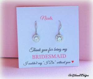 personalized jewelry card with earrings attached