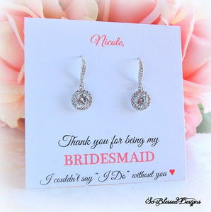 Thank you for being my bridesmaid card with earrings