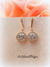 Rose gold solitaire CZ earrings