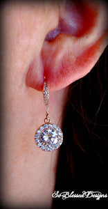 bridesmaid wearing Rose gold cubic zirconia earrings