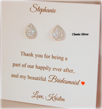 Thank you for being a part of our happily ever after card for bridesmaids with teardrop earrings