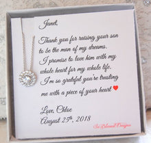 Elegant Cubic Zirconia Necklace for future Mother in Law displayed on personalied jewelry card