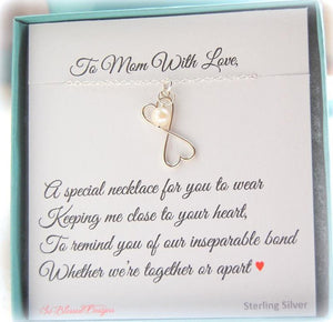 Mother of the Bride necklace gift displayed on To Mom with Love jewelry card