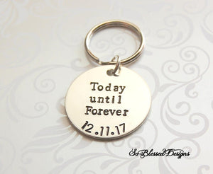 groom gift from bride custom keychain with wedding date