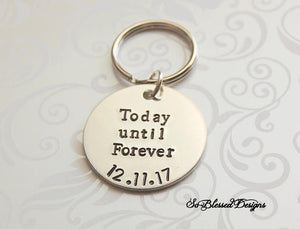 Wedding date keychain for bride or groom