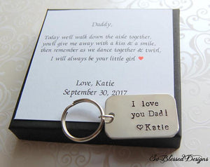 I love you Dad keychain with daughters name personalized