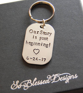 Silver our story is just beginning keychain with wedding date