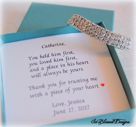 You held him first poem with Mother of the groom cz bracelet