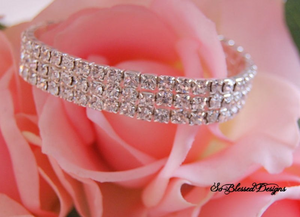 3 row silver and cubic zirconia bracelet