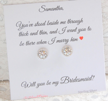 CZ stud solitaire earrings for bridesmaids gifts
