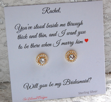 gold cz stud earrings for bridesmaids