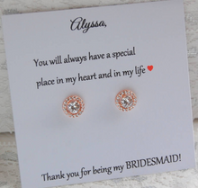 rose gold cz stud earrings for bridesmaids gifts
