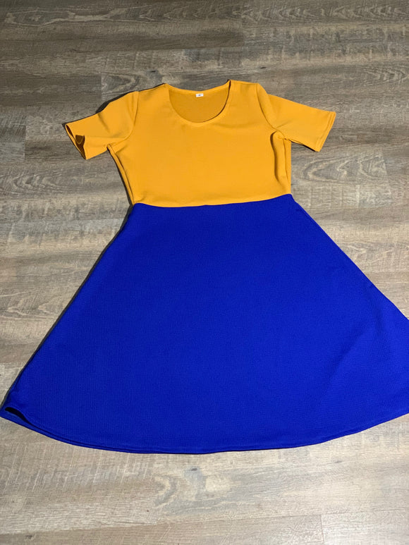 Women's Short Sleeve Scoop Neck Dress Gold Blue Color Block