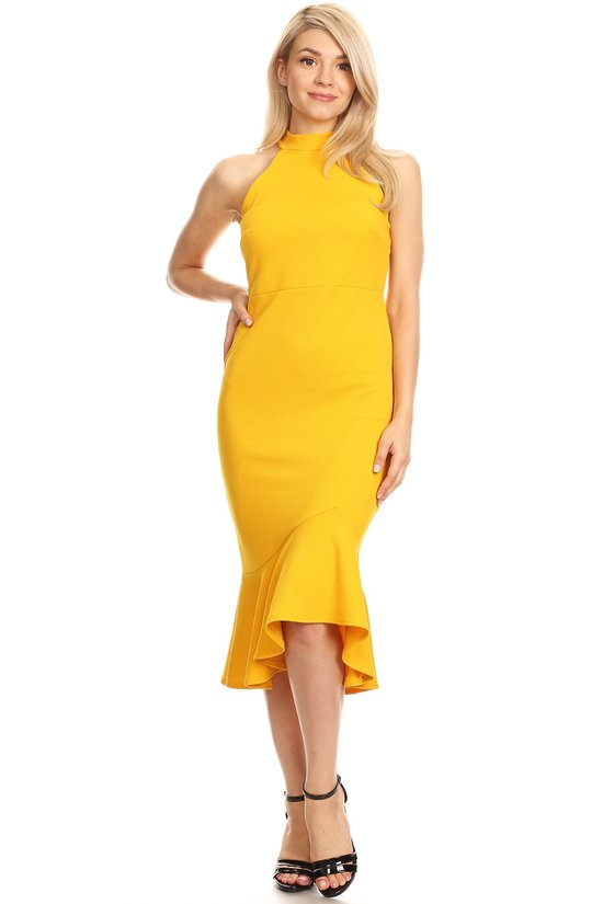 Mustard Mock Halter Dress