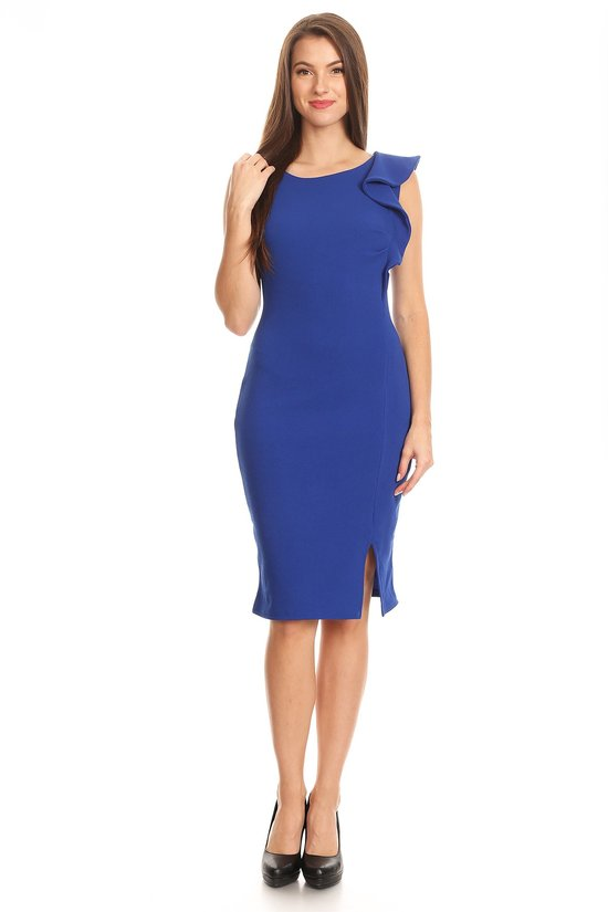 Royal Blue Ruffle Shoulder Dress