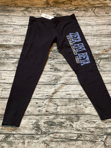 Zeta Leggings Black Block Letters