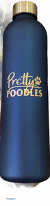 Pretty Poodle Frosted Royal Blue  Water Bottle