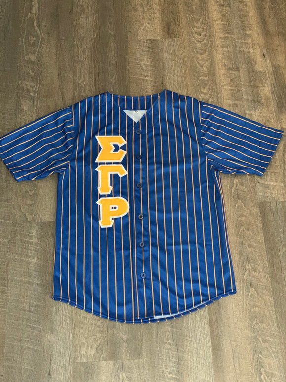 Baseball Jersey Royal w/ Gold Stripes