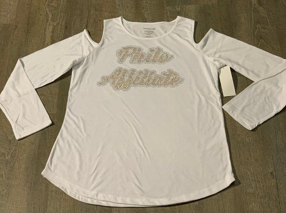 Philo Bling Cold Shoulder Top Long Sleeve