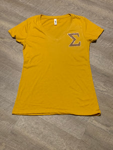 Gold Bling Pocket V Neck Tee