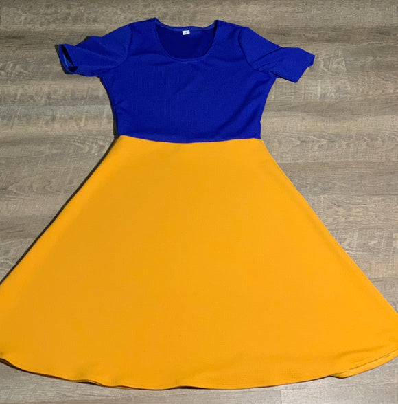 Women's Short Sleeve Scoop Neck Dress Blue Gold Color Block