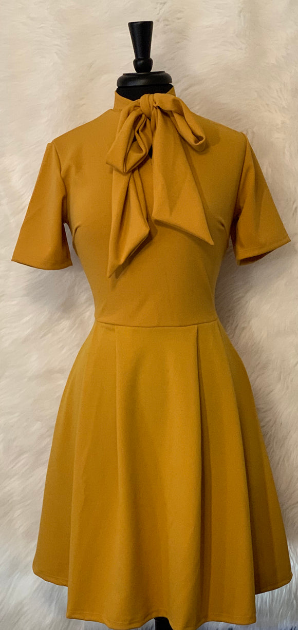Women's Short Sleeved Mock Neck Tie Dress w/ Pocket