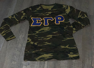 Embroidered Camo Tee Long Sleeves