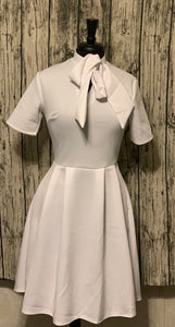 Pre-Sale June 15th Women's Short Sleeved Mock Neck Tie Dress w/ Pocket White